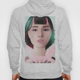 South Korean Girl With Hair Rollers and Bunny Ear Fan Portrait for K-Pop Lovers Hoody