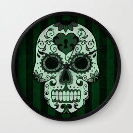 Día de los Muertos in Emerald Green Wall Clock