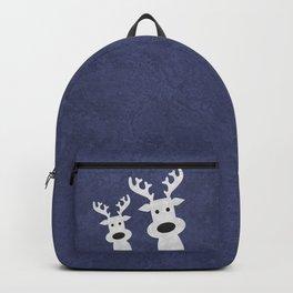 Christmas reindeer blue marble Backpack