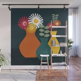 Flower Vases on Dark Background Wall Mural