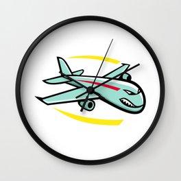 Angry Jumbo Jet Plane Mascot Wall Clock