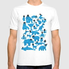 Blue Animals Black Hats Mens Fitted Tee White MEDIUM