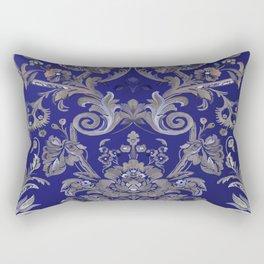 Painted Tibetan Brocade blue Rectangular Pillow