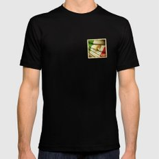 STICKER OF MEXICO flag Black Mens Fitted Tee MEDIUM
