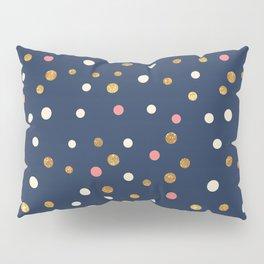 Hipster navy blue faux gold glitter modern polka dots Pillow Sham