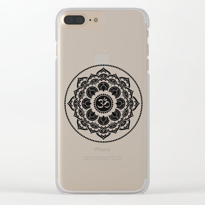 Black and White Mandala | Flower Mandhala Clear iPhone Case