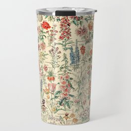 Vintage Floral Drawings // Fleurs by Adolphe Millot 19th Century Science Textbook Artwork Travel Mug