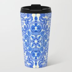 Cobalt Blue & China White Folk Art Pattern Travel Mug