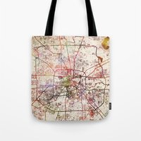 houston Tote Bags featuring Houston by MapMapMaps.Watercolors