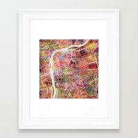 prague Framed Art Prints featuring Prague by MapMapMaps.Watercolors