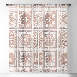 Talavera Mexican Tile – Rose Gold Palette Sheer Curtain