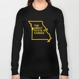 Great State of Kansas TShirt - Vintage Missouri Map Funny Long Sleeve T-shirt