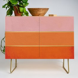 Orange, Pink And Gold Abstract Painting Credenza
