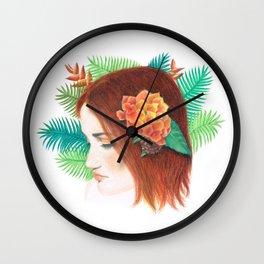 Tropical Flower Girl Wall Clock