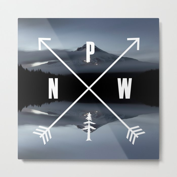PNW Pacific Northwest Compass - Mt Hood Adventure Metal Print
