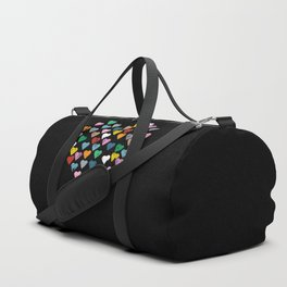 Distressed Hearts Heart Black Duffle Bag
