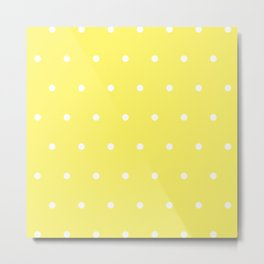 Yellow Pastel With White Polka Dots Pattern Metal Print