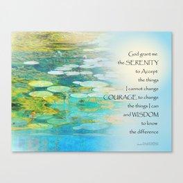 Serenity Prayer Koi Pond Blue Green Canvas Print