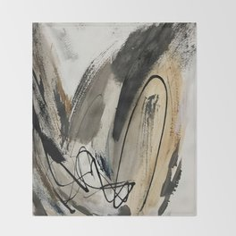 Drift [5]: a neutral abstract mixed media piece in black, white, gray, brown Throw Blanket