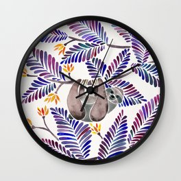 Happy Sloth – Tropical Indigo Leaves Wall Clock