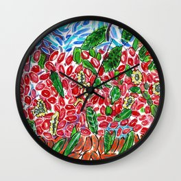 Fruits with Leaves Pile Wall Clock