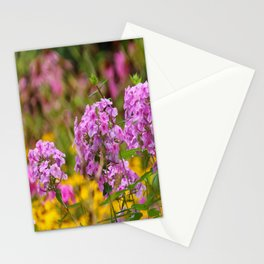 Pretty Pink Flowers in the Golden Garden Stationery Cards