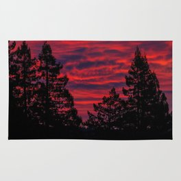 Black Trees Against a Flaming Sky Rug