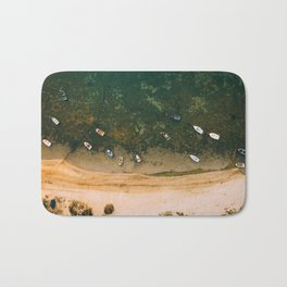 Aerial view of a Lagoon with boats Bath Mat