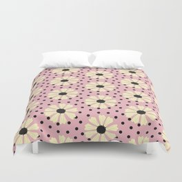 Yellow Daisy on Pink Duvet Cover
