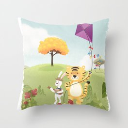 Tiger and Rabbit Throw Pillow