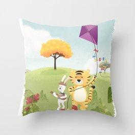 Tiger and Rabbit Throw Pillow