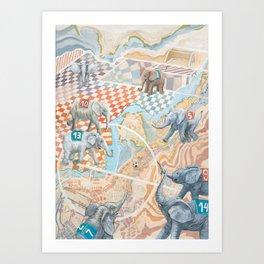Elephant football game Art Print