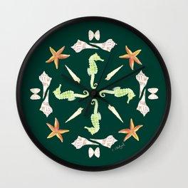 Seahorse Mandala - Watercolor Wall Clock