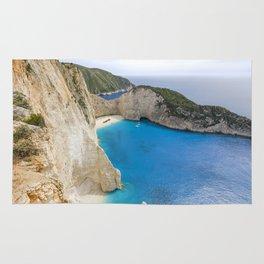 Navagio Beach with Shipwreckon Zakynthos Island, Greece Rug