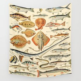 Vintage Fishing Diagram // Poissons by Adolphe Millot XL 19th Century Science Textbook Artwork Wall Tapestry