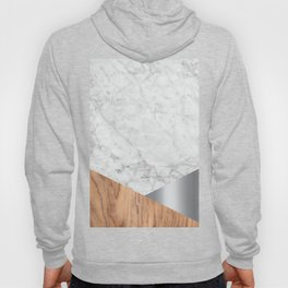 White Marble - Wood & Silver #157 Hoody