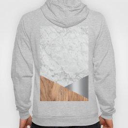 Geometric White Marble - Wood & Silver #157 Hoody