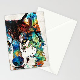 Wolf Art Print - Hungry - By Sharon Cummings Stationery Cards