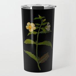 Cistus Laxus Mary Delany Delicate Paper Flower Collage Black Background Floral Botanical Travel Mug