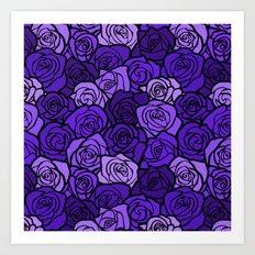 Romantic Purple roses with black outline Art Print