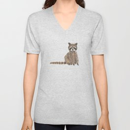 baby raccoon watercolor Unisex V-Neck