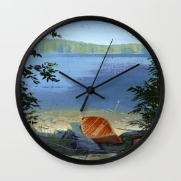 canoe on shore Wall Clock
