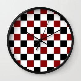 Black White Red Checker Wall Clock
