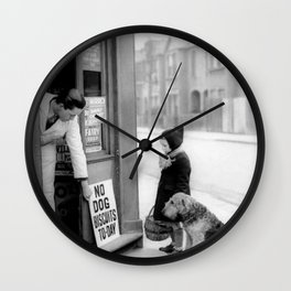 Vintage 'No Dog Biscuits Today' Humorous Little Girl, Dog, and Italian Market black and white photography / photograph Wall Clock