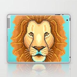 Modern pixel lion head on cyan background Laptop & iPad Skin
