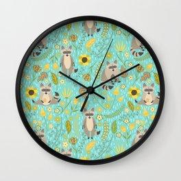 Cute raccoons Wall Clock