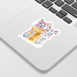 Happy alpacas watercolor Sticker