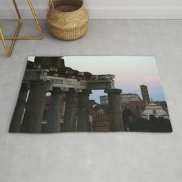 Roman Forum and Colosseum of Rome at Sunset Rug