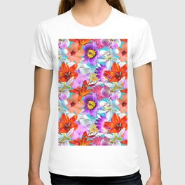Tropical Floral Study in Turquoise T-shirt