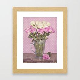 Vintage Candy Pink Roses in a Glass Jug Framed Art Print